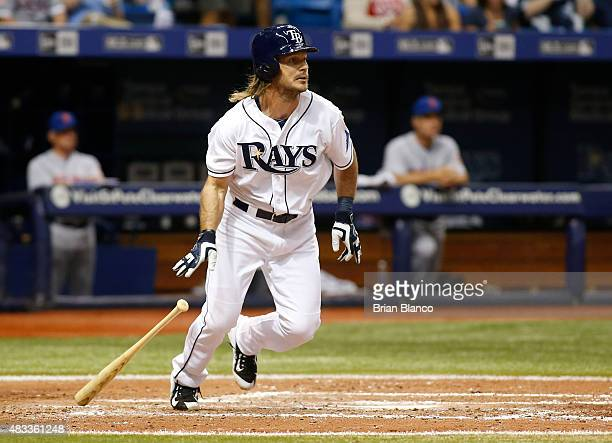John Jaso of the Tampa Bay Rays ground out to second baseman Kelly Johnson of the New York Mets during the sixth inning of a game on August 7 2015 at...