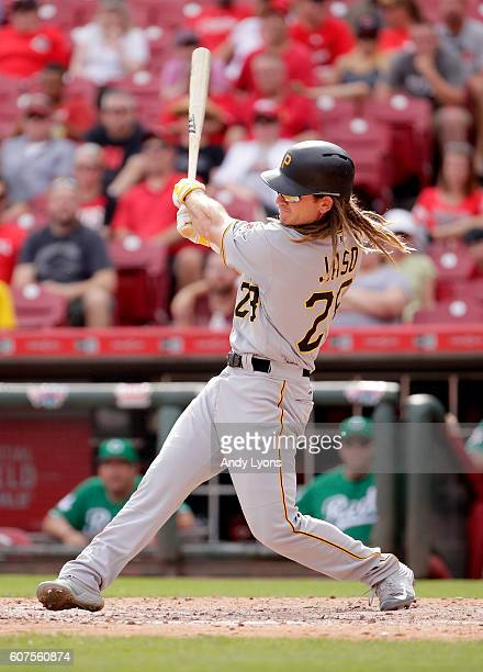 John Jaso#28 of the Pittsburgh Pirates hits a double in the ninth inning against the Cincinnati Reds at Great American Ball Park on September 18 2016...