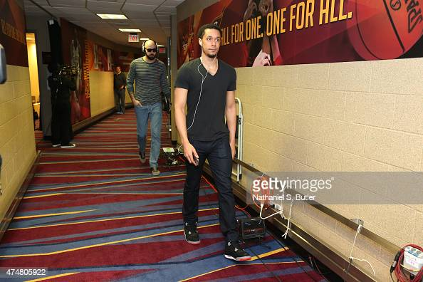 John Jenkins of the Atlanta Hawks arrives at the arena before a game against the Cleveland Cavaliers in Game Four of the Eastern Conference Finals...