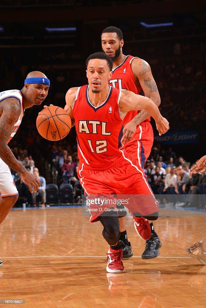 John Jenkins #12 of the Atlanta Hawks dribbles up the floor against the New York Knicks on April 17, 2013 at Madison Square Garden in New York City, New York.