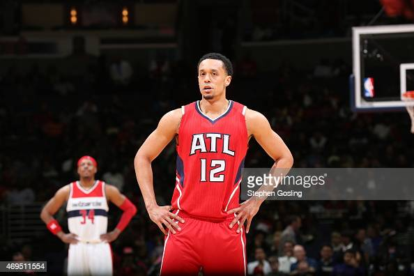 John Jenkins of the Atlanta Hawks during the game against the Washington Wizards on April 12 2015 at Verizon Center in Washington DC NOTE TO USER...