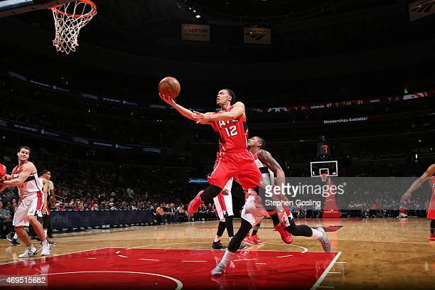 John Jenkins of the Atlanta Hawks goes for the layup against the Washington Wizards during the game on April 12 2015 at Verizon Center in Washington...