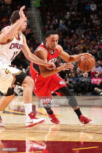 John Jenkins of the Atlanta Hawks handles the ball against the Cleveland Cavaliers on November 15 2014 at Quicken Loans Arena in Cleveland Ohio NOTE...