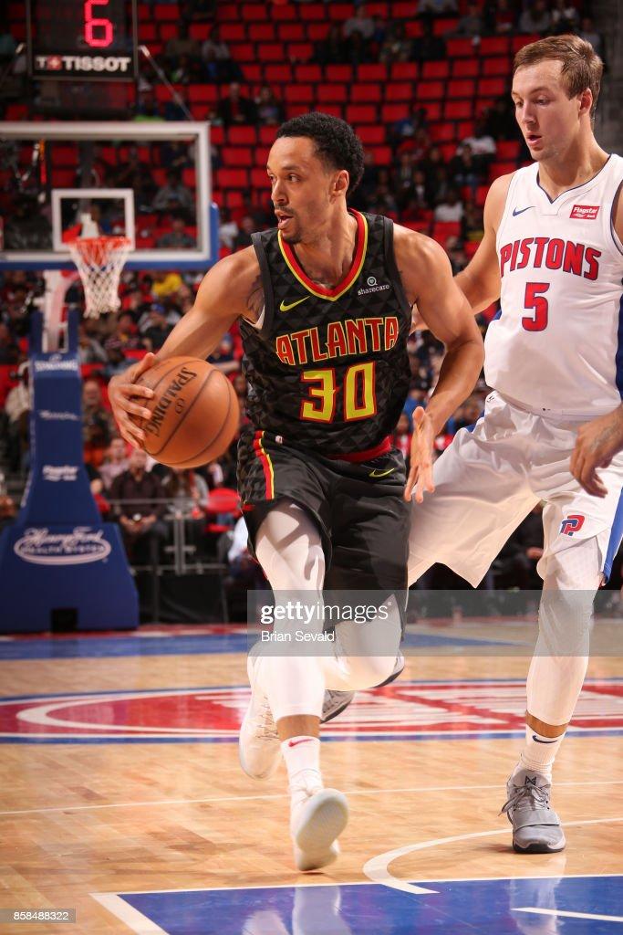John Jenkins #30 of the Atlanta Hawks handles the ball against the Detroit Pistons on October 6, 2017 at Little Caesars Arena in Detroit, Michigan.