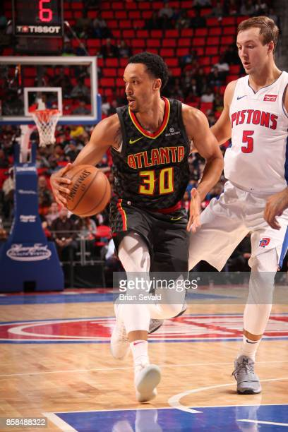 John Jenkins of the Atlanta Hawks handles the ball against the Detroit Pistons on October 6 2017 at Little Caesars Arena in Detroit Michigan NOTE TO...