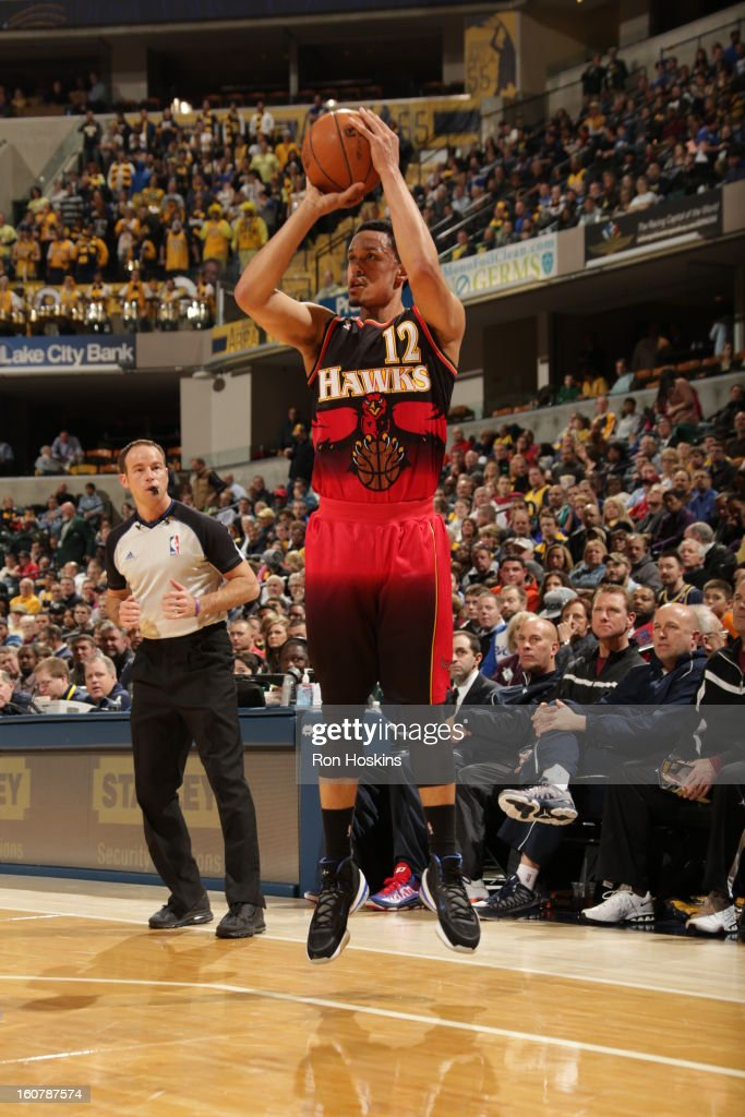 John Jenkins #12 of the Atlanta Hawks shoots a wide-open shot against the Indiana Pacers on February 5, 2013 at Bankers Life Fieldhouse in Indianapolis, Indiana.