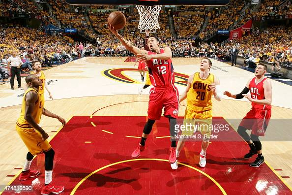 John Jenkins of the Atlanta Hawks shoots against the Cleveland Cavaliers in Game Four of the Eastern Conference Finals during the 2015 NBA Playoffs...