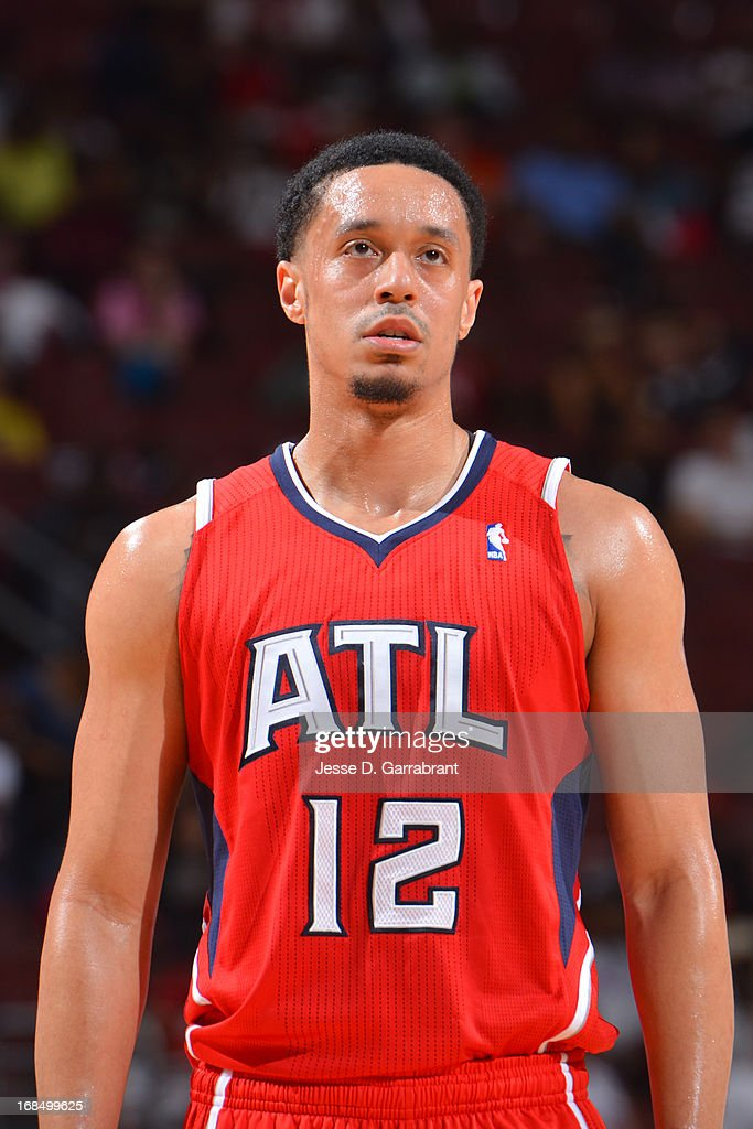John Jenkins #12 of the Atlanta Hawks stands on the court during the game against the Philadelphia 76ers at the Wells Fargo Center on April 10, 2013 in Philadelphia, Pennsylvania.