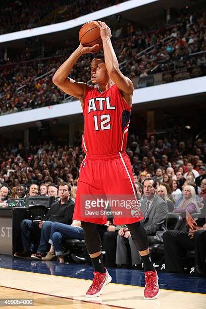 John Jenkins of the Atlanta Hawks takes a shot against the Cleveland Cavaliers on November 15 2014 at Quicken Loans Arena in Cleveland Ohio NOTE TO...