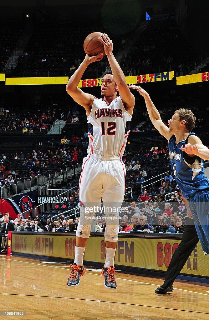 John Jenkins #12 of the Atlanta Hawks takes a shot against the Minnesota Timberwolves on January 21, 2013 at Philips Arena in Atlanta, Georgia.