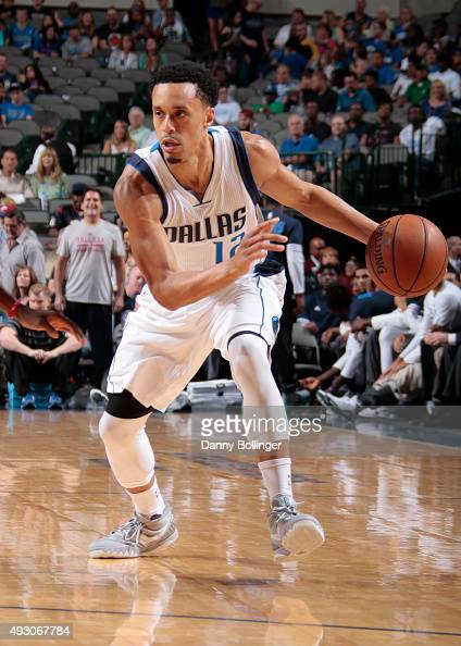 John Jenkins of the Dallas Mavericks handles the ball against the Atlanta Hawks on October 16 2015 at the American Airlines Center in Dallas Texas...