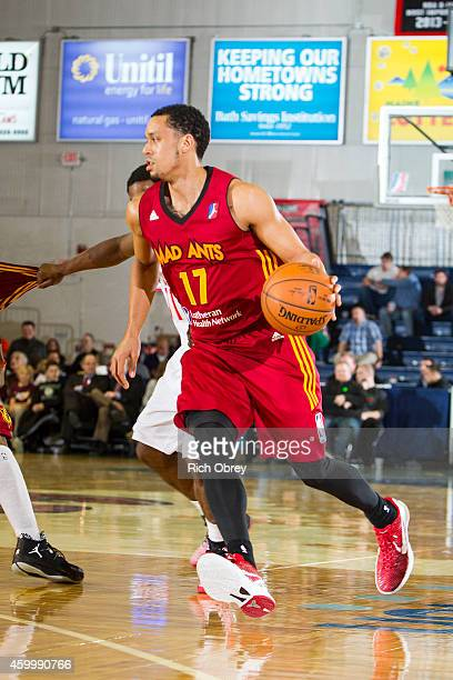 John Jenkins of the Fort Wayne Mad Ants drives to the basket against the Maine Red Claws on December 4 2014 at the Portland Expo in Portland Maine...