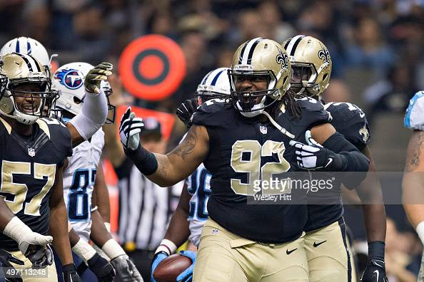 John Jenkins of the New Orleans Saints celebrates after making a tackle during a game against the Tennessee Titans at MercedesBenz Superdome on...