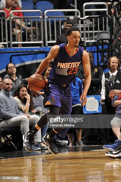 John Jenkins of the Phoenix Suns dribbles the ball against the Orlando Magic on March 4 2016 at Amway Center in Orlando Florida NOTE TO USER User...