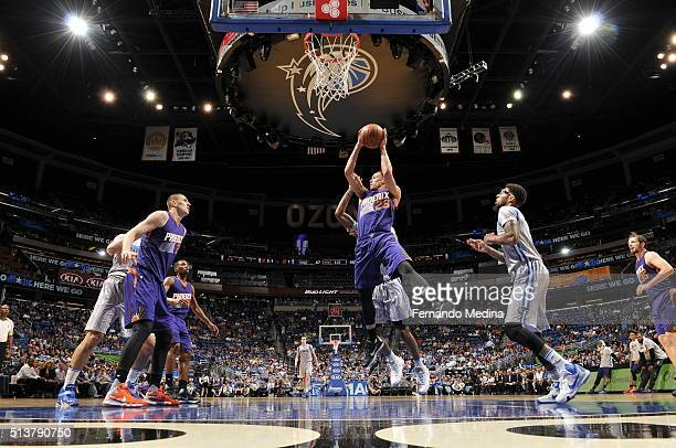 John Jenkins of the Phoenix Suns grabs the rebound against the Orlando Magic on March 4 2016 at Amway Center in Orlando Florida NOTE TO USER User...