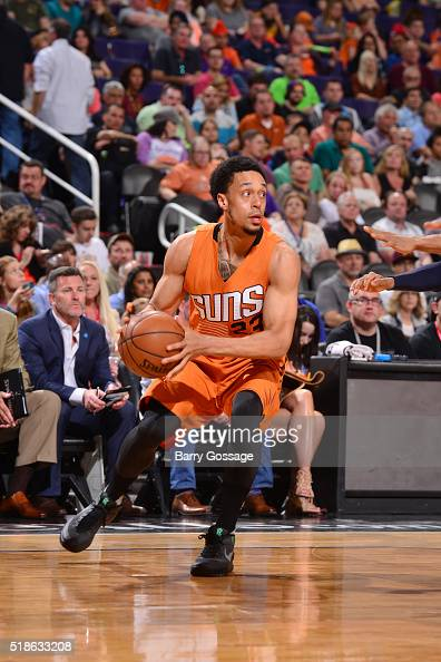 John Jenkins of the Phoenix Suns handles the ball against the Washington Wizards on April 1 2016 at Talking Stick Resort Arena in Phoenix Arizona...