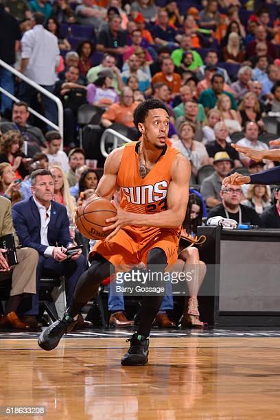 John Jenkins of the Phoenix Suns handles the ball against the Washington Wizards on April 1 2016 at Talking Stick Resort Arena in Phoenix Arizona...