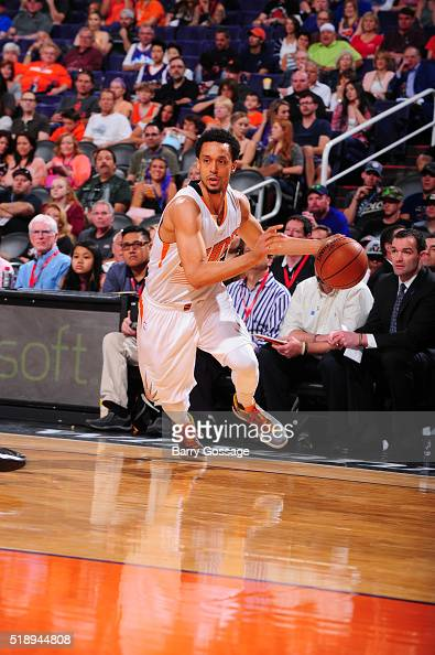 John Jenkins of the Phoenix Suns handles the ball against the Utah Jazz on April 3 2016 at US Airways Center in Phoenix Arizona NOTE TO USER User...