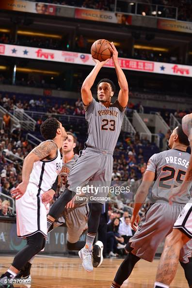 John Jenkins of the Phoenix Suns shoots against the Brooklyn Nets during the game on February 25 2016 at Talking Stick Resort Arena in Phoenix...