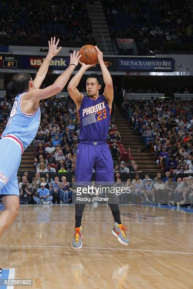 John Jenkins of the Phoenix Suns shoots against the Sacramento Kings on March 25 2016 at Sleep Train Arena in Sacramento California NOTE TO USER User...