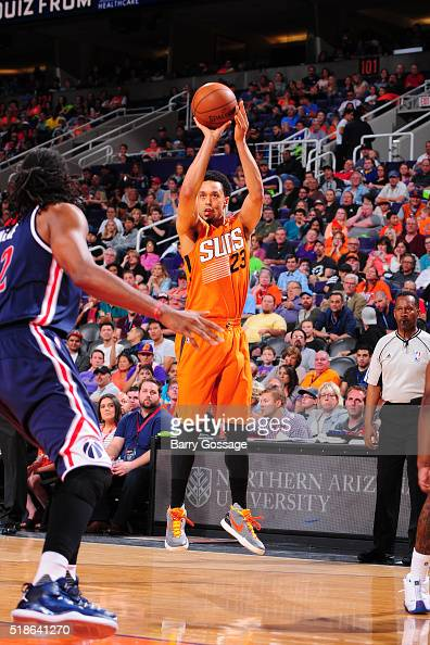 John Jenkins of the Phoenix Suns shoots the ball against the Washington Wizards on April 1 2016 at Talking Stick Resort Arena in Phoenix Arizona NOTE...