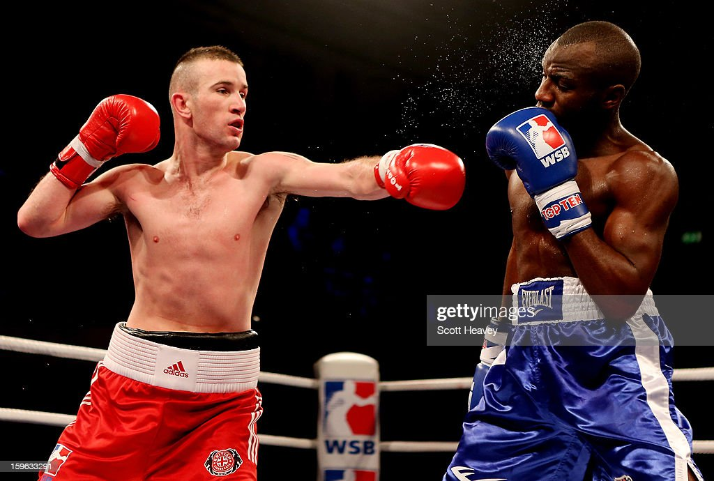 <a gi-track='captionPersonalityLinkClicked' href=/galleries/search?phrase=John+Joe+Nevin&family=editorial&specificpeople=9603245 ng-click='$event.stopPropagation()'>John Joe Nevin</a> of British Lionhearts (L) in action with <a gi-track='captionPersonalityLinkClicked' href=/galleries/search?phrase=Daouda+Sow&family=editorial&specificpeople=5482044 ng-click='$event.stopPropagation()'>Daouda Sow</a> of USA Knockouts during their 57-61kg bout in the World Series of Boxing Match between British Lionhearts and USA Knockouts at York Hall on January 17, 2013 in London, England.