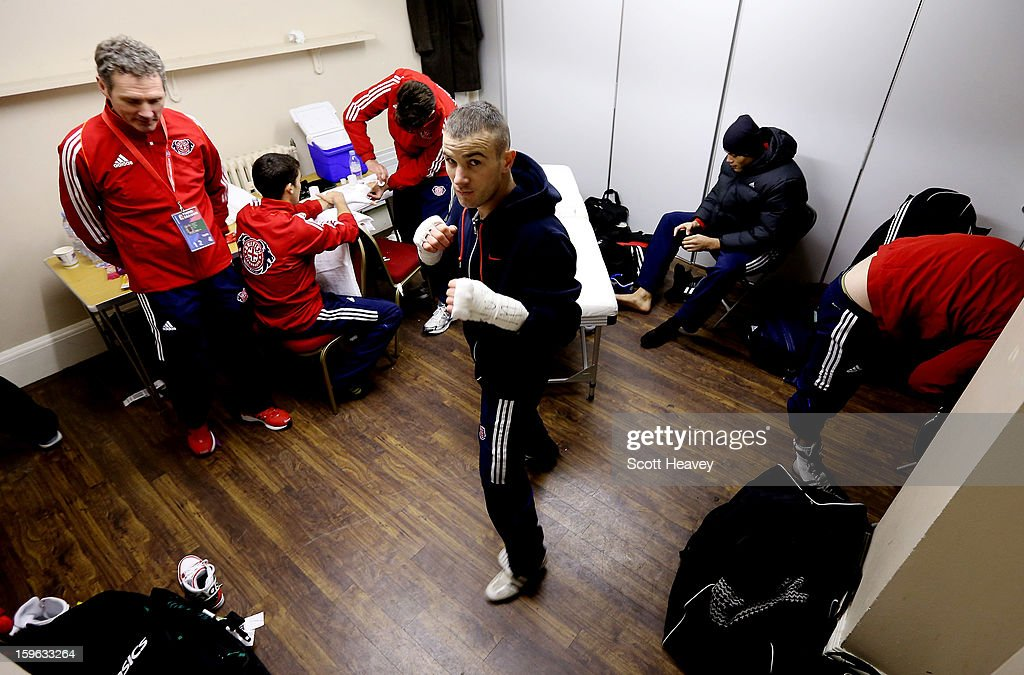 <a gi-track='captionPersonalityLinkClicked' href=/galleries/search?phrase=John+Joe+Nevin&family=editorial&specificpeople=9603245 ng-click='$event.stopPropagation()'>John Joe Nevin</a> of British Lionhearts prepares for his 57-61kg bout with Daouda Sow of USA Knockouts during the World Series of Boxing Match between British Lionhearts and USA Knockouts at York Hall on January 17, 2013 in London, England.