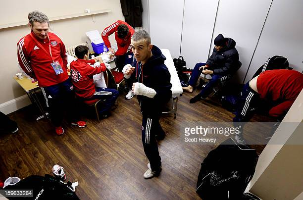 John Joe Nevin of British Lionhearts prepares for his 5761kg bout with Daouda Sow of USA Knockouts during the World Series of Boxing Match between...