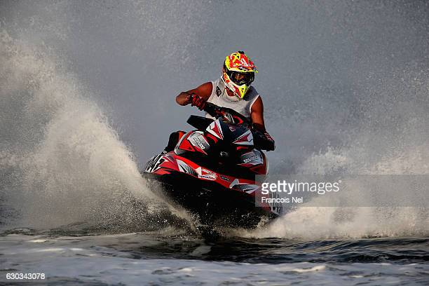 John Johansson of Sweden race in the Runabout GP1 final during the Aquabike Class Pro Circuit World Championships Grand Prix of Sharjah at Khalid...