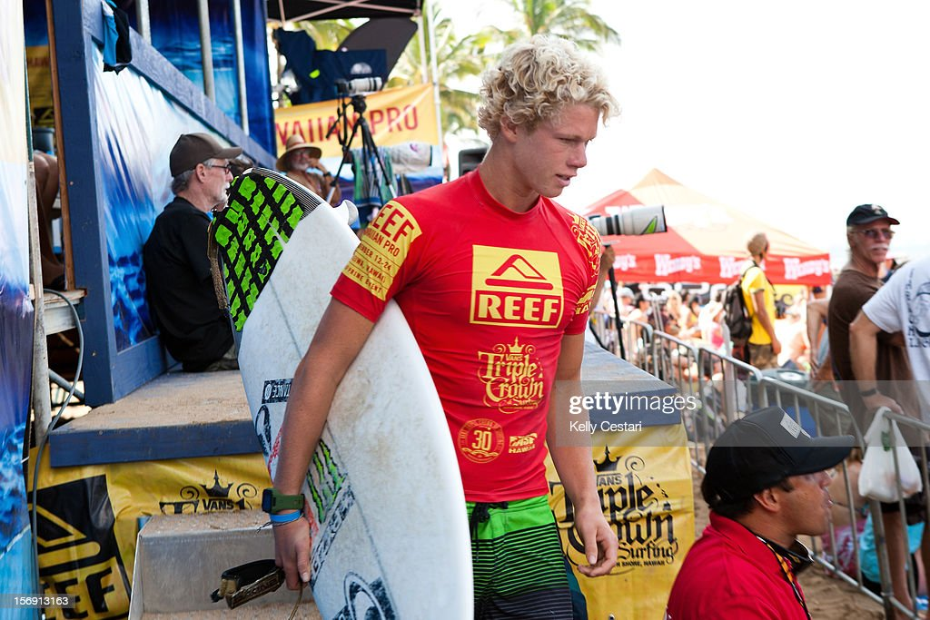 John John Florence of Hawaii placed runner-up in the final of the REEF Hawaiian Pro at Ali'i Beach Park on November 24, 2012 in Haleiwa, Hawaii.