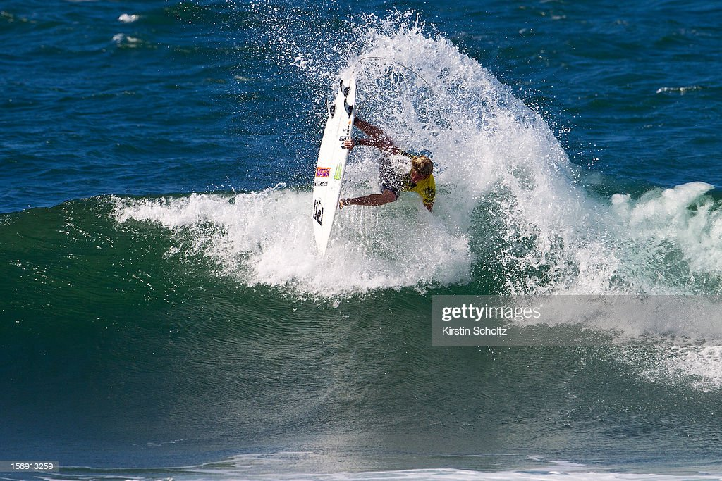 John John Florence of Hawaii surfs to a runner up finish November 17, 2012 in Haleiwa, Hawaii.