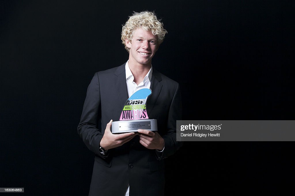 John John Florence of the United States of America with his 2012 Rookie of the Year Award Trophy at the 2013 ASP World Surfing Awards on February 28, 2013 in Surfers Paradise, Australia.