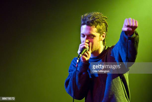 John 'Johno' Stuckey beatboxing with The Demon Barbers on stage on day 1 of the Big Session Festival at De Montfort Hall And Gardens on June 19 2009...