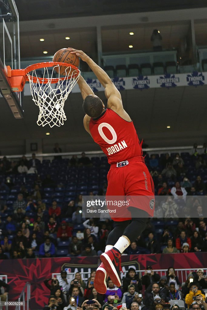 John Jordan of the Raptors 905 dunks the ball during the NBA D-League Slam Dunk Contest during the NBA D-League All Star Game 2016 presented by Kumho Tire as part of 2016 All-Star Weekend at the Ricoh Coliseum on February 13, 2016 in Toronto, Ontario, Canada.