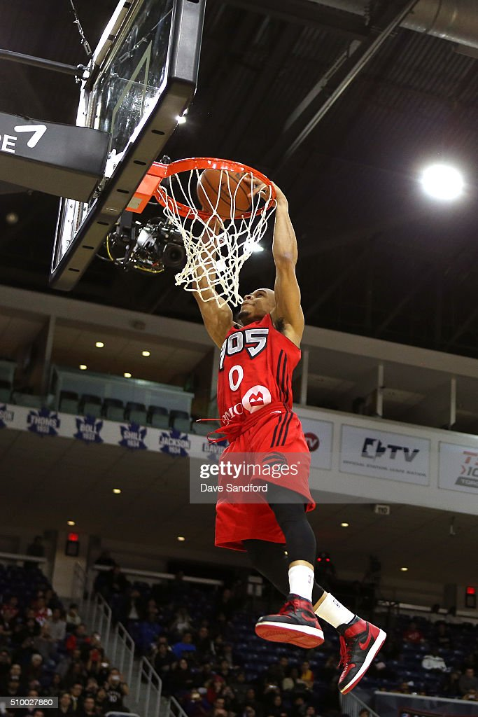 John Jordan of the Raptors 905 dunks the ball during the NBA D-League Slam Dunk Contest presented by Verizon during the NBA D-League All Star Game 2016 presented by Kumho Tire as part of 2016 All-Star Weekend at the Ricoh Coliseum on February 13, 2016 in Toronto, Ontario, Canada.