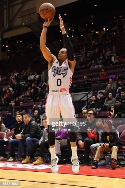 John Jordan of the Raptors 905 shoots the ball against the Windy City Bulls on March 30 2017 in Mississauga Ontario Canada NOTE TO USER User...