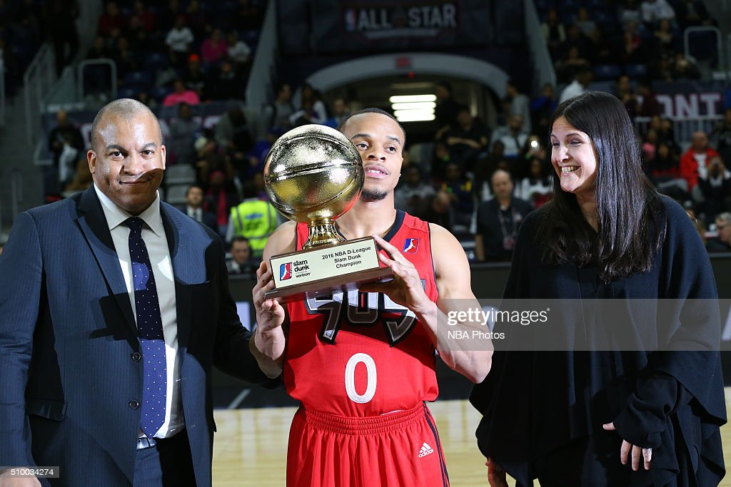 John Jordan of the Raptors 905 wins the slam dunk contest presented by Verizon during the NBA D-League All Star Game 2016 presented by Kumho Tire as part of 2016 All-Star Weekend at the Ricoh Coliseum on February 13, 2016 in Toronto, Ontario, Canada.