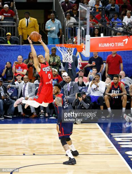John Jordan of the Toronto 905 dunks during the Slam Dunk Contest as part of 2017 AllStar Weekend at the MercedesBenz Super Dome on February 18 2017...