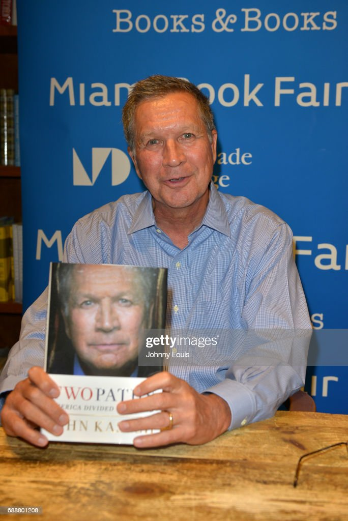 John Kasich, Governor of Ohio and a former U.S. presidential candidate speaks and sign copies of his new book 'Two Paths: America Divided or United' at Books and Books on May 26, 2017 in Coral Gables, Florida.