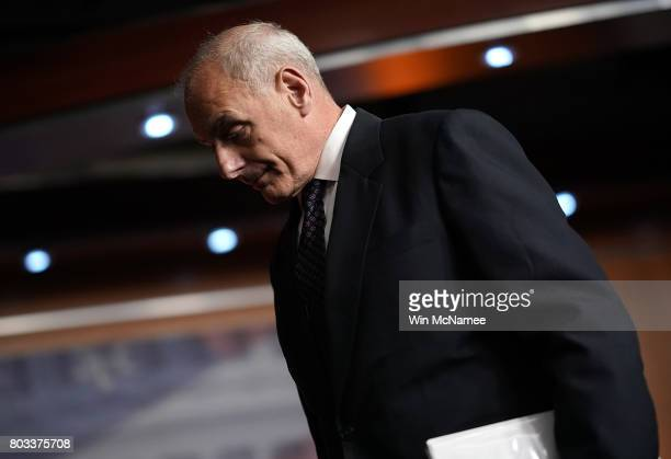 John Kelly Secretary of Homeland Security departs Paul Ryan's weekly press conference at the US Capitol June 29 2017 in Washington DC Kelly addressed...