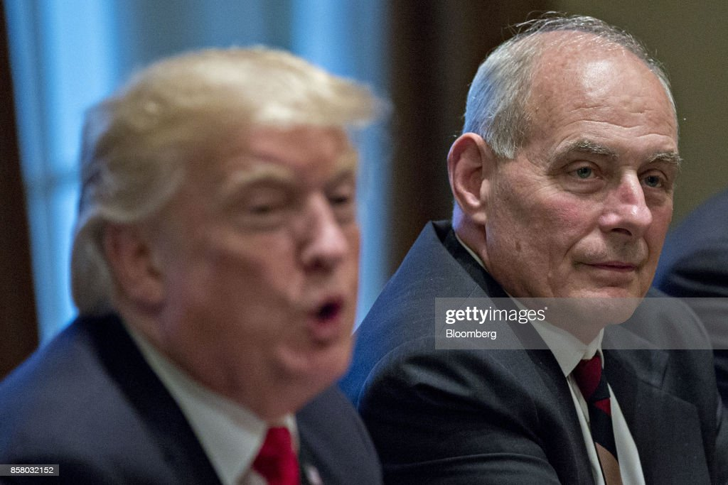 John Kelly, White House chief of staff, right, listens as U.S. President Donald Trump, speaks during a briefing with senior military leaders in the Cabinet Room of the White House in Washington, D.C., U.S., on Thursday, Oct. 5, 2017. Defense Secretary Jim Mattis said this week the U.S. and allies are holding the line against the Taliban in Afghanistan as forecasts of a significant offensive by the militants remain unfulfilled. Photographer: Andrew Harrer/Bloomberg via Getty Images