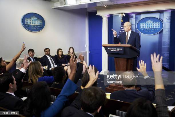 John Kelly White House chief of staff takes questions during a White House press briefing in Washington DC US on Thursday Oct 12 2017 Kelly surprised...