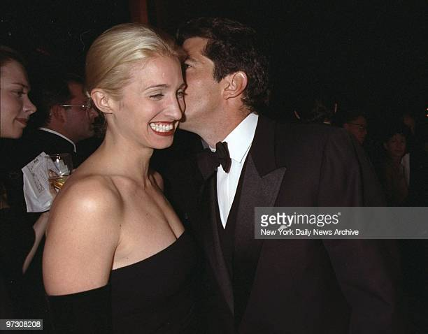 John Kennedy Jr with his wife Carolyn Bessette Kennedy attending Municipal Art Society gala at Grand Central Terminal