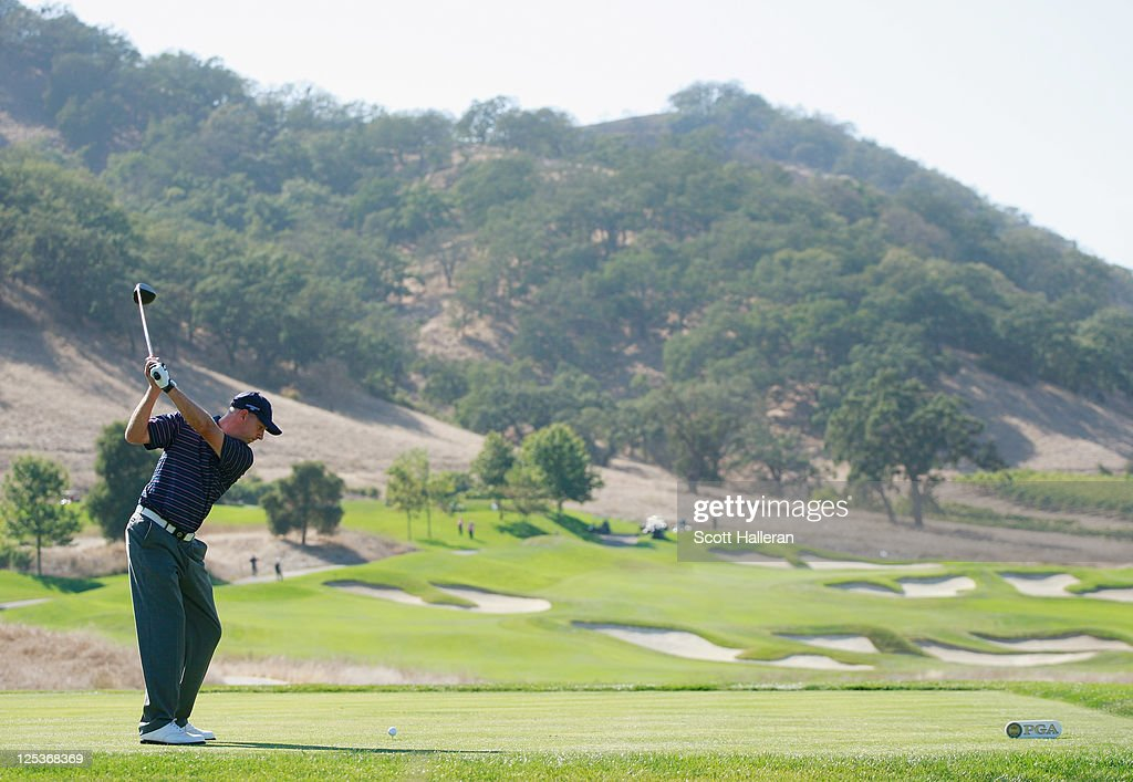 John Kennedy of the Great Britain and Ireland team hits a shot during the Afternoon Foursomes Matches at the 25th PGA Cup at the CordeValle Golf Club on September 16, 2011 in San Martin, California.