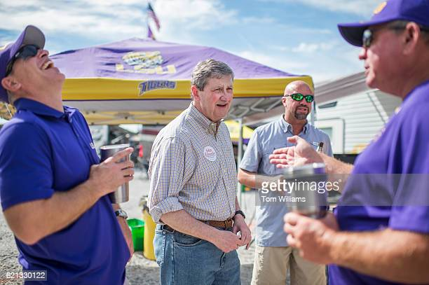 John Kennedy Republican candidate for the US Senate from Louisiana greets fans at a tailgate party before a football game between the Louisiana State...