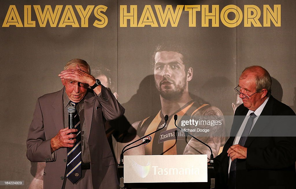 John Kennedy Snr speaks on stage during the Hawthorn Hawks Season Launch and Hall of Fame presentation at Encore St Kilda on March 21, 2013 in Melbourne, Australia.