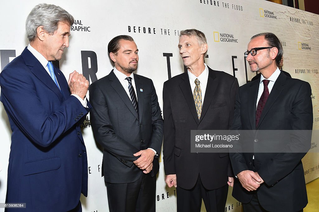 John Kerry, Leonardo DiCaprio, Piers Sellers and Fisher Stevens attend the National Geographic Channel 'Before the Flood' screening at United Nations Headquarters on October 20, 2016 in New York City.
