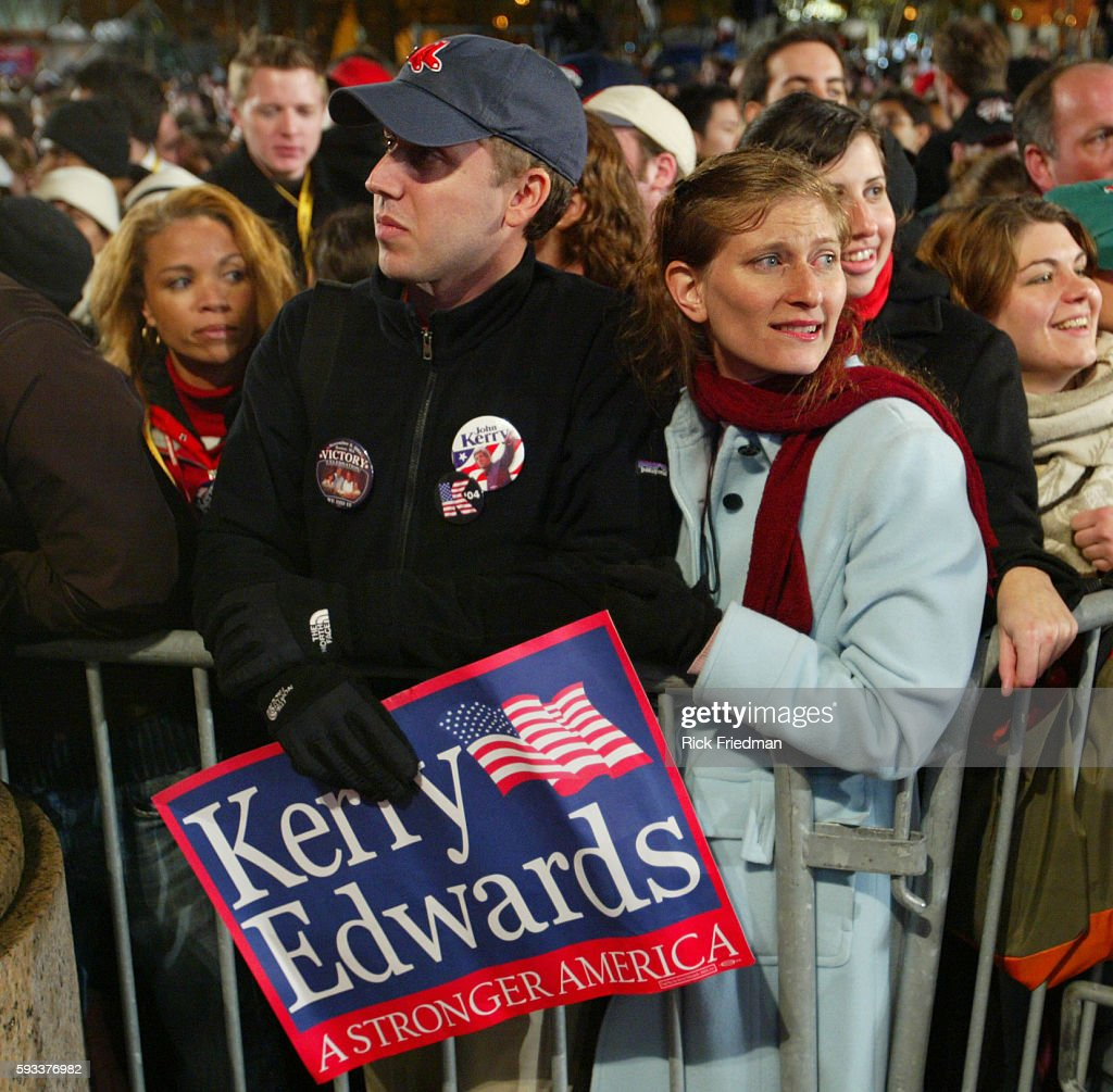 John Kerry supporters at the John Kerry Election night event in Copley Square Boston