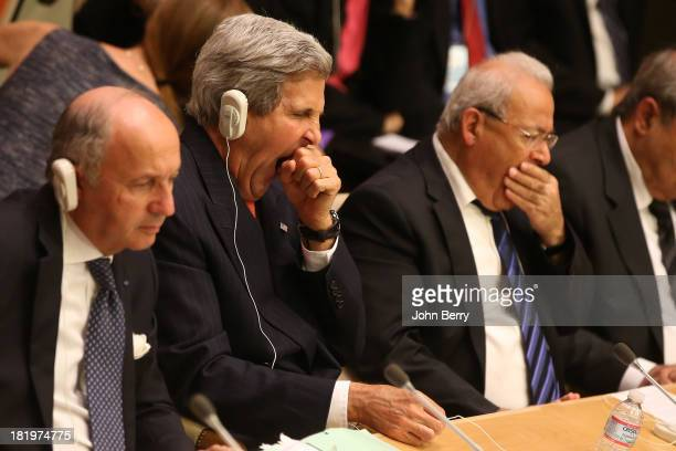 John Kerry United States Secretary of State participates at the 'Friends of the Syrian People' event during the 68th session of the United Nations...