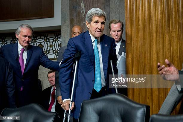 John Kerry US secretary of state center arrives to a Senate Foreign Relations Committee hearing in Washington DC US on Thursday July 23 2015 Senator...